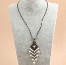 Simple Retro Style Chandelier Shape White Seashell Beads Tassel Pendant Necklace With Black Leather