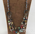 Wholesale 25.6 inches fashion black pearl multi color gemstone necklace