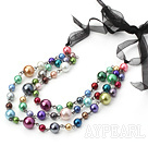 Wholesale 3 strand multi color shell beaded neckalce with black ribbon
