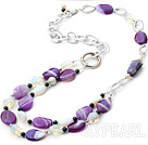 Wholesale fashion style pearl and natural agate moonstone necklace