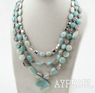 Wholesale Multi Strand Amazon Stone Necklace with Metal Accessories