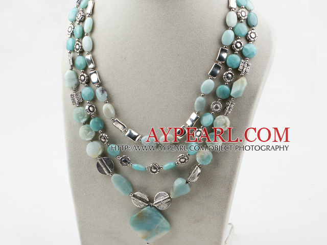 Multi Strand Amazon Stone Necklace with Metal Accessories
