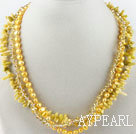 fashion three strand yellow pearl crystal and coral necklace