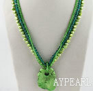 Wholesale fashion three strand green pearl crystal and turquoise necklace