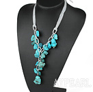 Wholesale chunky style 23.6 inches Y shape turquoise necklace with ribbon