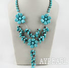 18.1 inches Y shape turquoise flower and garnet necklace
