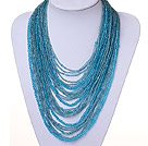 Wholesale hot style vogue multi strand 2-4mm sky blue manmade crystal necklace