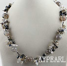 vogue jewelry pearl crystal and black agate necklace