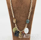 Wholesale 23.6 inches chunky style multi color gemstone necklace on bold chain