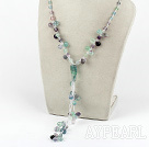 Wholesale 19.7 inches rainbow flourite necklace with lobster clasp