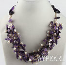 Wholesale hot white rice pearl and amethyst necklace