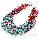 fabulous multistrand coral and turquoise neckalce
