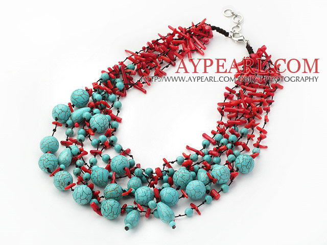 Fabulous Multi Strand Coral and Turquoise Neckalce