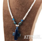White Freshwater Pearl and Cross Shape Blue Agate Pendant Necklace