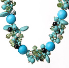 Beautiful Blue Turquoise and Crystal and Pearl Necklace