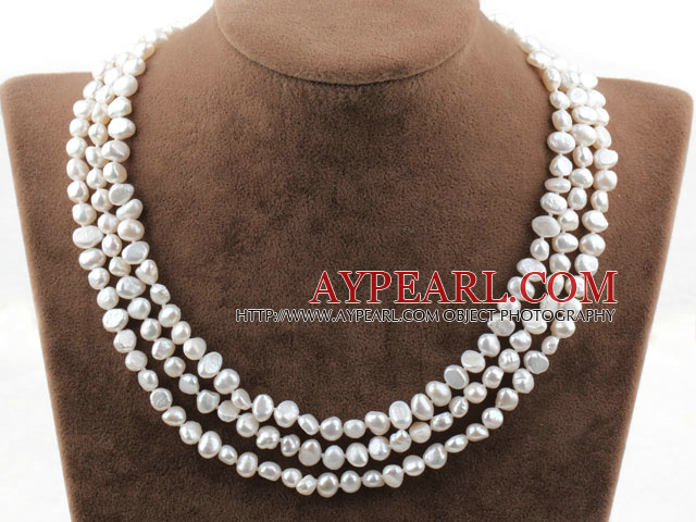 Three Strands White Freshwater Pearl Bridal Necklace