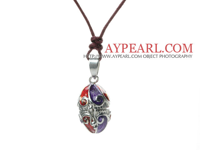 Lovely Red And Blue Make A Wish Box Pendant Necklace With Dark Red Ropes