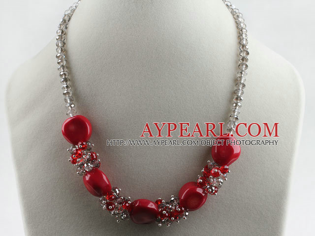 17.7 inches red coral grey crystal necklace