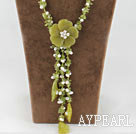 Y shape white pearl olive jade flower necklace