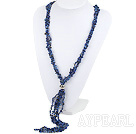 hot 3 strand lapis chips and pearl necklace