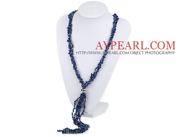 3 Strand Lapis Chips and Pearl Y Shape Tassel necklace
