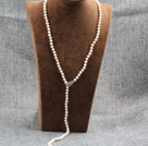 Lang stil Y Shape Natural White Freshwater Pearl Necklace