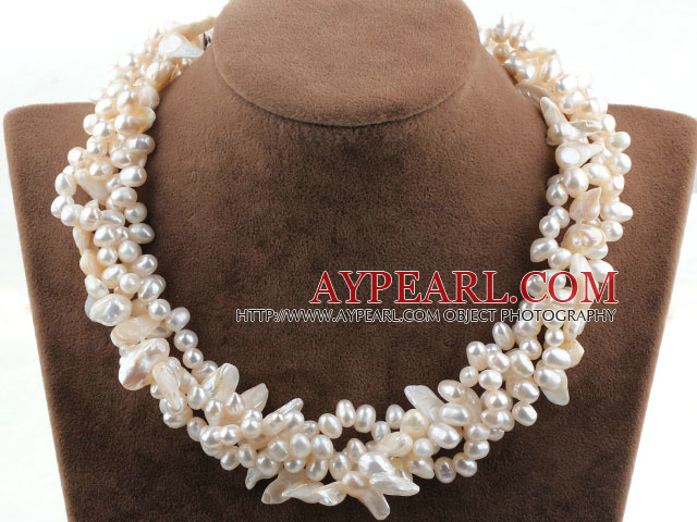 Multi Strands hvit ferskvannsperle og tenner Shape Pearl Necklace