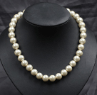 Wholesale Multi Strands Golden Yellow Freshwater Pearl and Teeth Shape Pearl Twisted Necklace