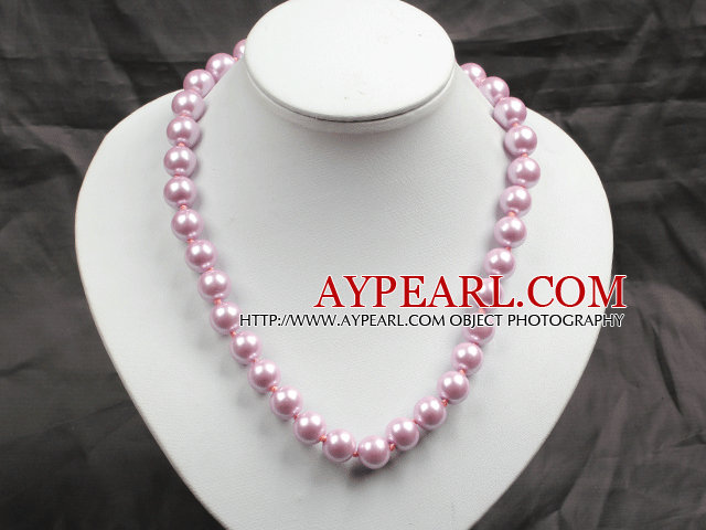 12mm Violet Color Round Glass Pearl Beads Choker Necklace Jewelry