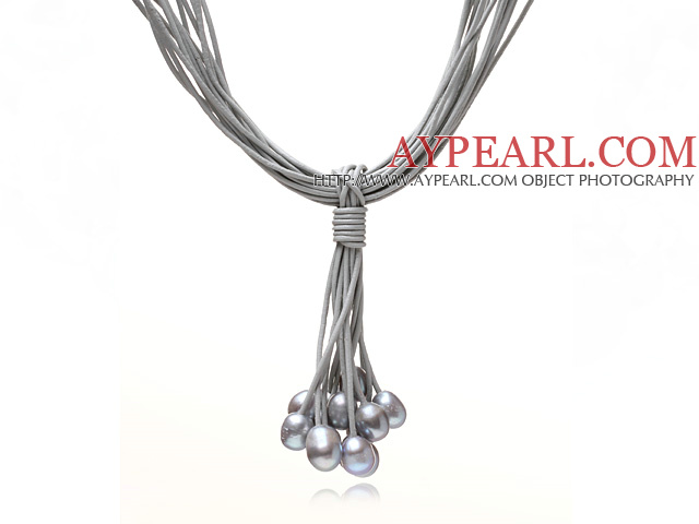 Multi Strands 11-12mm Gray Freshwater Pearl Leather Necklace with Magnetic Clasp and Gray Leather