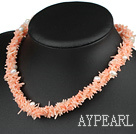 Wholesale 18.5 inches 3 strand white pearl and pink coral necklace with moonlight clasp