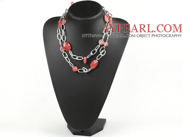 Popular Long Chain Loop Style Mixed Size And Shape Cherry Quartz Necklace, Sweater Necklace