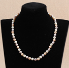 Hot Sale Women Gift A Grade 7-8mm Natural White Pink & Purple Mixed Color Pearl Necklace With Heart Clasp
