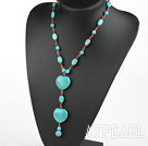 Nice Round Bloodstone And Oval Heart Shape Blue Burst Pattern Turquoise Pendant Necklace With Extendable Chain