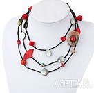 Multi Function Black Lip Shell Red Coral Bloodstone Cinnaba Agate Necklace, Long Y Shape Necklace