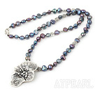 Fashion Mixed Color Fresh Water Pearl With Tibet Silver Petal Necklace