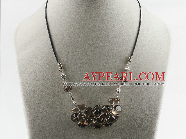 Fashion Cluster Smoky Quartz Charm Necklace With Black Cords And Extendable Chain