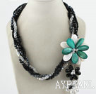 Multi Strands Schwarz und Kristall und Green Shell Flower Party Halskette