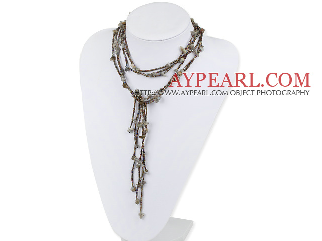 Nice Long Style Green Rutilated Quartz Chips Strand Necklace, Y Shape Sweater Necklace