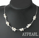 Fashion White Fresh Water Pearl Knit-Wired Necklace With Lobster Clasp