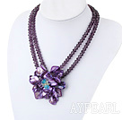 Wholesale Purple Crystal and Shell Flower Necklace