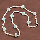 Fashion Long Natural Freshwater Pearl Irregular Shape Aquamarine Necklace
