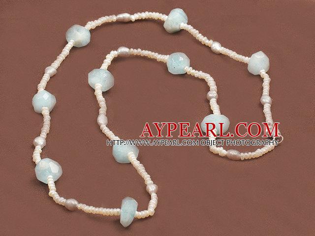 Fashion Long Natural Freshwater Pearl Irregular Shape Aquamarine Necklace