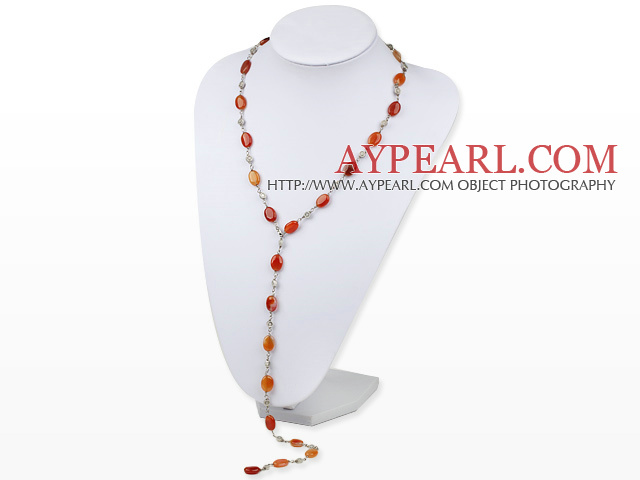Fashion Multi-Function Natural Red Oval Agate Link Metal Charm Necklace, Sweater Necklace