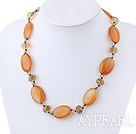 Wholesale Single Strand Crystal and Visional Agate Necklace with Moonlight Clasp