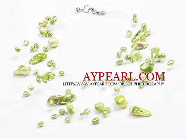 Fancy Style Multi Strand Natural Green Teeth Shape Freshwater Pearl Necklace