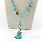 Wholesale 21.5 inches fashion turquoise Y shaped necklace