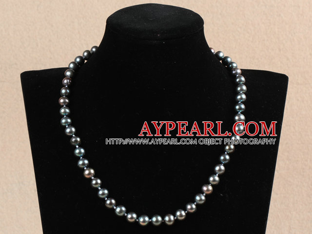 Hot Sale Kvinner Gift A Grade 8-9mm Natural Black Pearl Necklace med hjerte Clasp