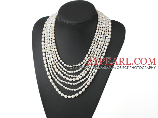 Elegant Multi-Strand Natural White Fresh Water Pearl Necklace With Multi-Row Clasp