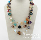 Fashion Multi Strand Various Sizes And Shapes Colorful Gemstone Necklace With Moonight Clasp